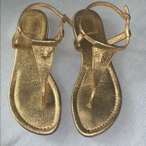 Tory Burch gold metallic leather sandals. 7 1/2